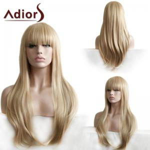 Adiors Long Neat Bang Silky Straight Synthetic Wig - Light Brown - 16inch