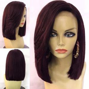 Medium Straight Bob Side Part Synthetic Wig - Wine Red - 14inch