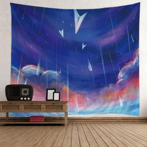 Oil Painting Rainy Wall Decor Tapestry - Colorful - W59 Inch * L59 Inch