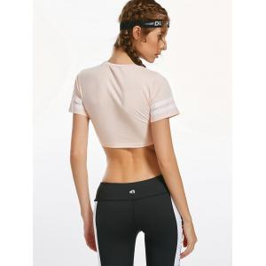 Contrast Crew Neck Active Crop T-shirt -
