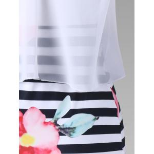 Floral with Striped Tight Popover Dress -