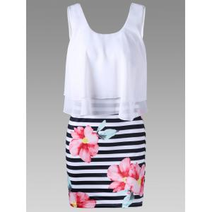 Floral with Striped Tight Popover Dress - White - 2xl