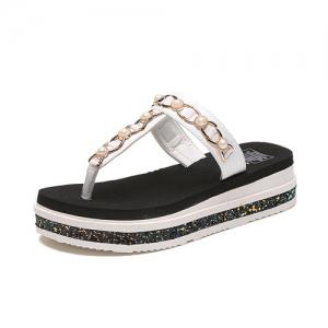 Beaded T Strap Platform Slippers - WHITE 38