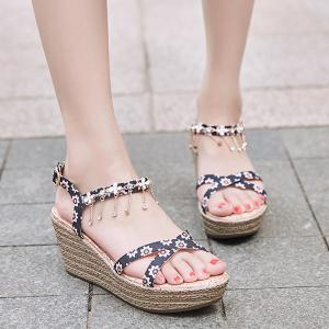 Rhinestones Tiny Floral Print Sandals - Black - 39