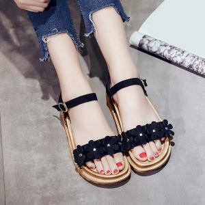 Platform Flowers Belt Buckle Sandals - Black - 39