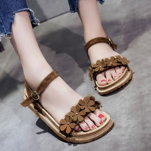 Platform Flowers Belt Buckle Sandals - BROWN 39
