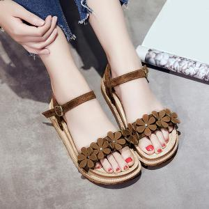 Platform Flowers Belt Buckle Sandals - Brown - 38