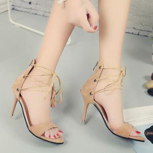 Tassel Lace Up Stiletto Heel Sandals