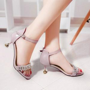 Rhinestone Ankle Strap Sandals - Peach Red - 37