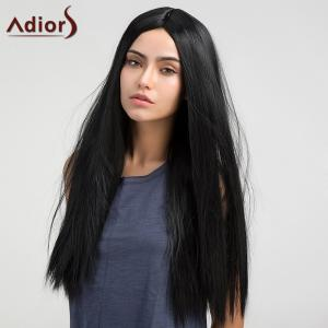 Adiors Long Middle Parting Glossy Straight Synthetic Wig - Black - 16inch