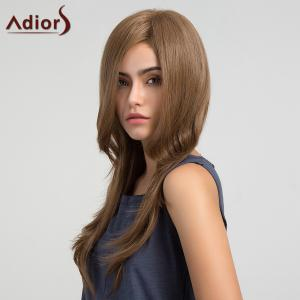 Adiors Long Side Part Glossy Straight Synthetic Wig - Light Brown - 16inch