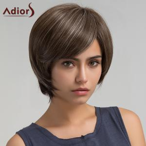 Adiors Short Oblique Bang Straight Colormix Bob Synthetic Wig