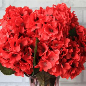 Home Living Room Party Decorative Ombre Artificial Flowers - BRIGHT RED