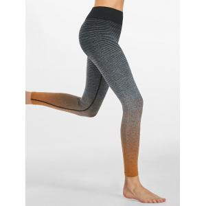 Ombre Striped Ninth Workout Leggings - Orange - L