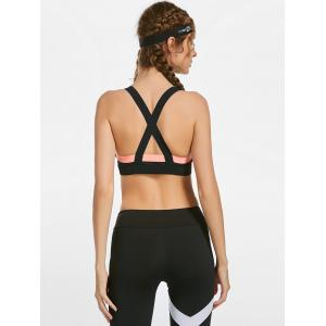Contrast Back Criss Cross Workout Bra with Padded -