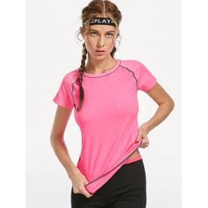 Breathable Raglan Sleeve Gym T-shirt - PINK M