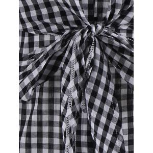 Plaid Off The Shoulder Bowknot Mini Dress - BLACK WHITE XL