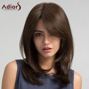 Adiors Long Inclined Bang Straight Synthetic Wig - Brown