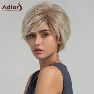 Adiors Short Side Bang Colormix Layered Shaggy Straight Synthetic Wig - Grey White