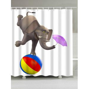 Waterproof Elephant Playing Ball and Umbrella Shower Curtain - Colorful - W71 Inch * L79 Inch