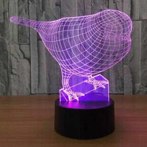3D Bird Shape Color Changing Decorative Touch Night Light - Transparent