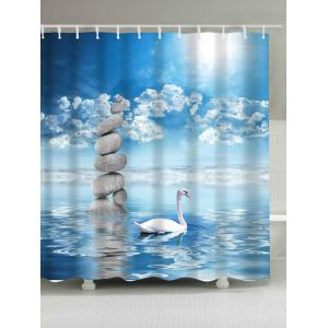 Extra Long Swan in the Lake Print Waterproof Shower Curtain - Lake Blue - W71 Inch * L71 Inch