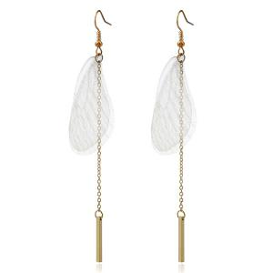 Bar Feather Chain Hook Earrings