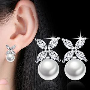 Faux Crystal Pearl Flower Earrings