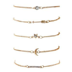 Rhinestone Star Arrow Moon Bracelet Set