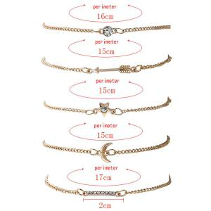 Rhinestone Star Arrow Moon Bracelet Set - GOLDEN