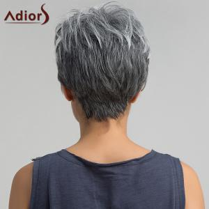 Adiors Short Side Bang Layered Shaggy Straight Pixie Synthetic Wig -