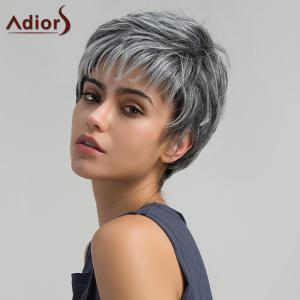 Adiors Short Side Bang Layered Shaggy Straight Pixie Synthetic Wig