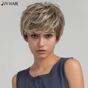 Siv Hair Short Side Bang Shaggy Layered Straight Colormix Human Hair Wig