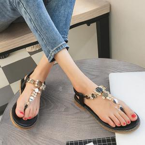 Rhinestones Transparent Plastic Elastic Sandals - Black - 38
