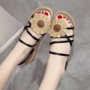 Cross Strap Flower Flat Heel Slippers - BLACK 37