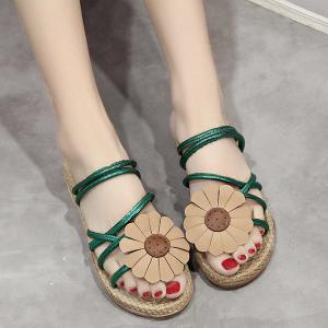 Cross Strap Flower Flat Heel Slippers - Green - 38