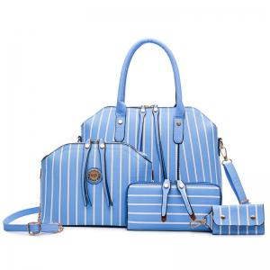 4 Pcs Striped Handbag Set - Blue - 44