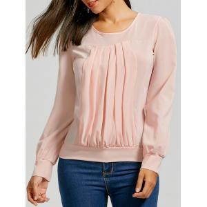 Ruched Long Sleeve Top - Pink - Xl