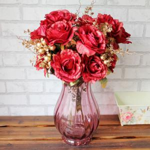Home Living Room Party Decoration Vintage Artificial Flowers - Red - One Size