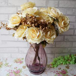 Home Living Room Party Decoration Vintage Artificial Flowers - Yellow - L