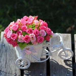 Home Living Room Decoration Artificial Flowers With Basket Bike - PINK