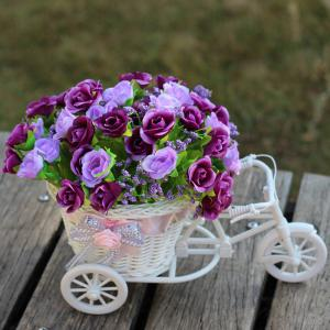 Home Living Room Decoration Artificial Flowers With Basket Bike - Purple - One Size