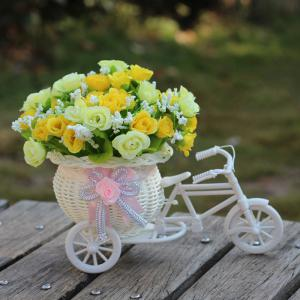 Home Living Room Decoration Artificial Flowers With Basket Bike - Yellow