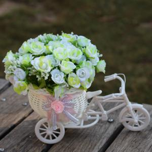Home Living Room Decoration Artificial Flowers With Basket Bike - White