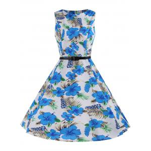 Printed Sleeveless A Line Dress - Blue And White - S