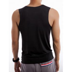 Round Neck Fitted Quick Dry Rayon Tank Top - BLACK XL