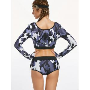 Camouflage Long Sleeve Crop Top et Briefs Workout Clothes - Camouflage ACU M