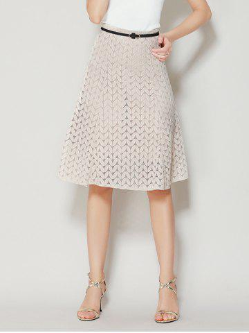 Outfits High Waist A Line Lace Skirt - S APRICOT Mobile