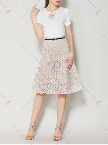 Outfit High Waist A Line Lace Skirt - S APRICOT Mobile