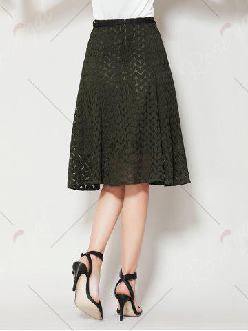 Buy High Waist A Line Lace Skirt - XL ARMY GREEN Mobile
